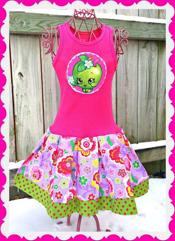 girls shopkins dress apple blossom 4  5 6  6x by blossomblueboutique