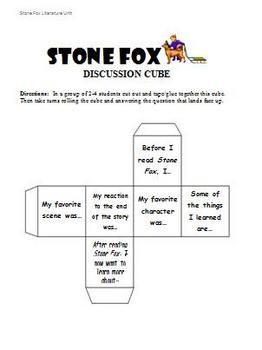 Stone Fox Literature Unit - Discussion Cube Activity