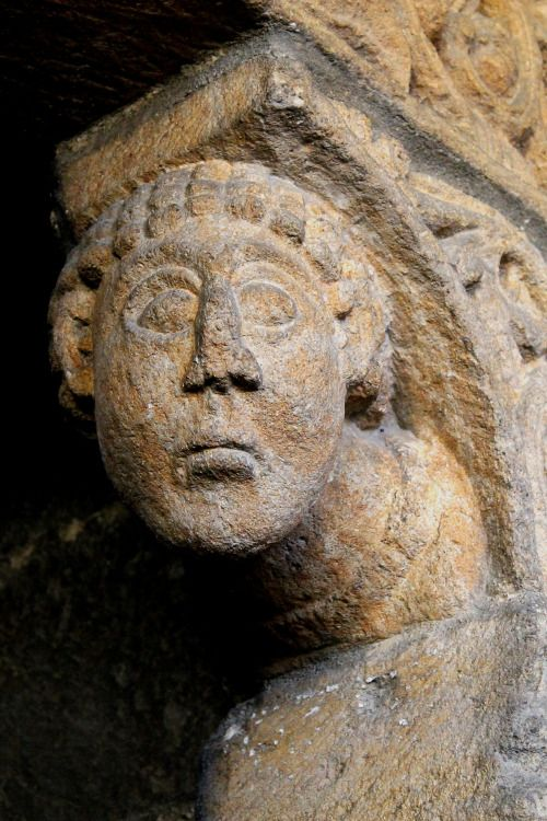 Stone carving of a Monk (I think) on the 'Prior's Door' of Ely Cathedral dating from around 1135. 4th July 2015.Own photograph.