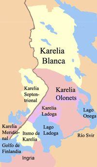 Karelia, es un área geográfica situada en el noreste de Europa, actualmente dividida entre Finlandia (regiones de Carelia del Norte y Carelia del Sur) y Rusia (República de Carelia y óblast de Leningrado).