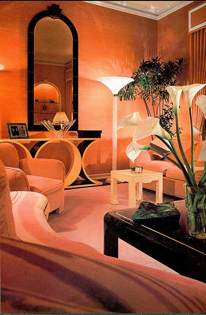 80s Deco | the black lacquer, the mauve, very of the moment '80's interior design