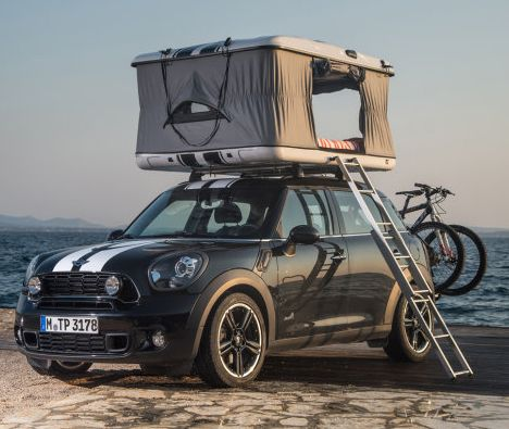The rooftop tent (MINI Countryman ALL4 Camp) may not be spacious enough for a kitchen or bathroom, but it provides a place to sleep and serves a few other critical functions as well.