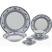 Aparelho Jantar Queen Wolff Porcelana Azul/Branco 42Pecas
