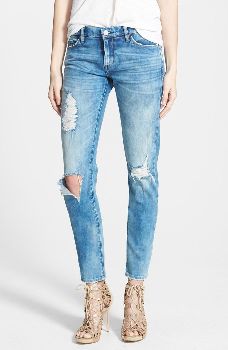 """Customer favorite: BLANKNYC """"good vibes"""" distressed jeans. It's the pair that all the fashion bloggers wear! The perfect distressing in all the right places. Comfortable and flattering boyfriend jeans."""