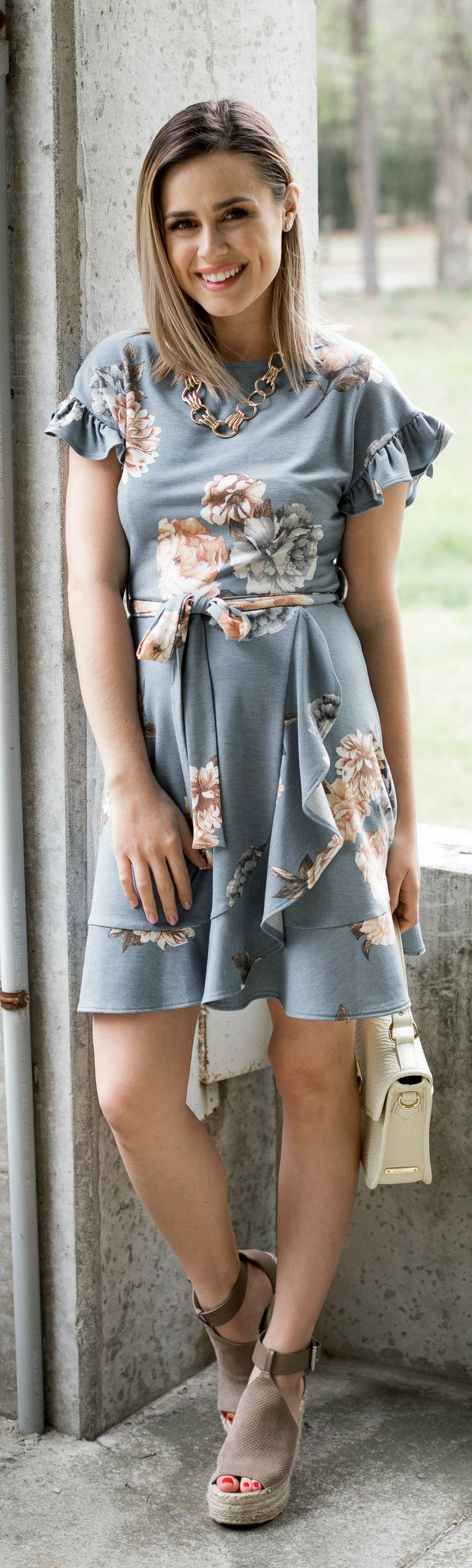 floral dress \ spring dresses \ spring outfit \ Marc Fisher wedges \ Uptown with Elly Brown