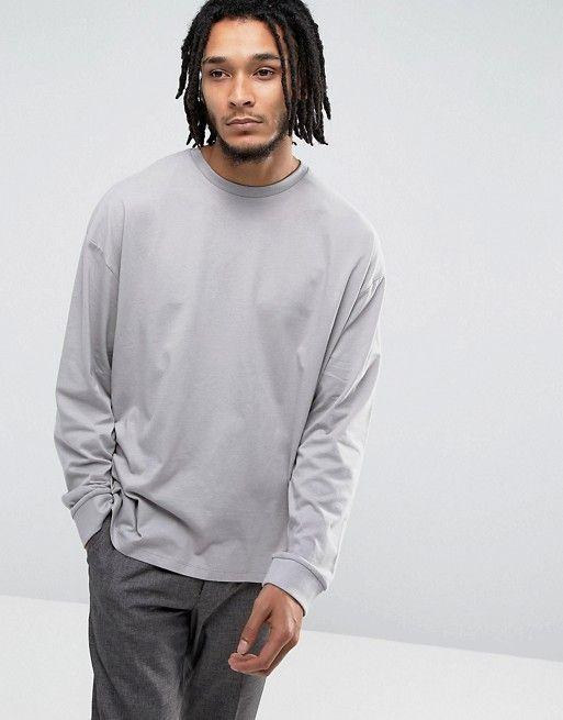 7aa0959deec62a ASOS Oversized Long Sleeve T-Shirt With Cuffs In Gray | asos men ...