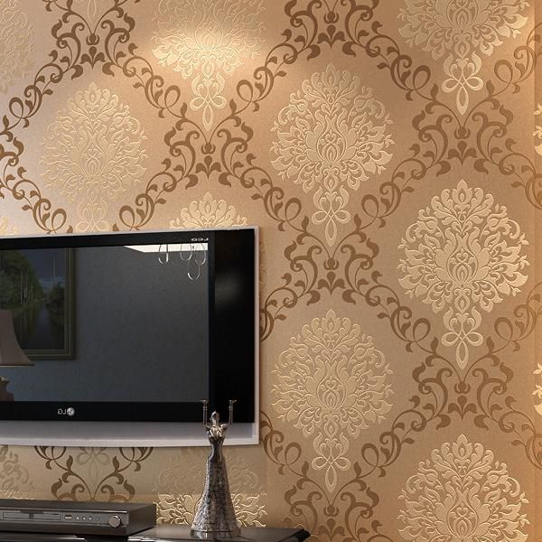 27.59$  Know more  - coffee color damask wallpaper for living room TV background