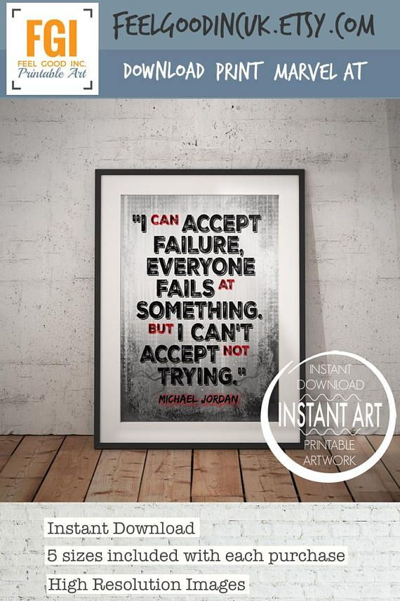 f223acd9ecaa53 Michael Jordan Quote Print I can accept failure - Motivational Poster-  Inspirational Print -Basketball