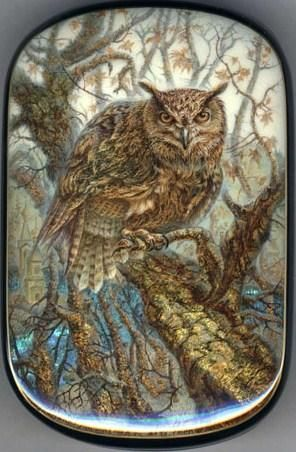 "Fedoskino. Russian Lacquer Art Titled ""Owl"" Artist Aleksey Chirkov"