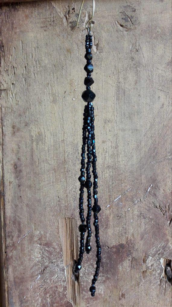 Black earring Single earring Dangle earring Long earring