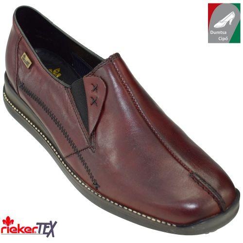 Rieker  vízálló női bőr cipő 44253-35 antikolt bordó
