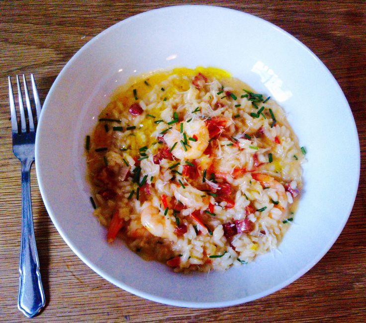 Prawn risotto. Arborio, shallot, garlic, chives chilli, prawn, wine ...