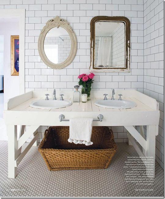 white subway tile bathroom: Bathroom Design, Vintage Mirror, Anna Spiro, Subway Tile Bathroom, Bathroom Mirror, Bathroom Sinks, Bathroom Ideas, White Subway Tile, Double Sinks