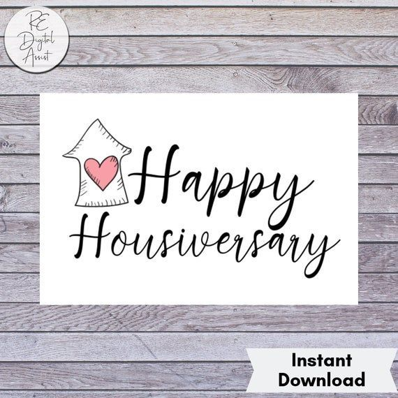 Happy Housiversary Card Printable Real Estate Client House Etsy In 2021 Happy Housiversary Real Estate Client Anniversary Postcard