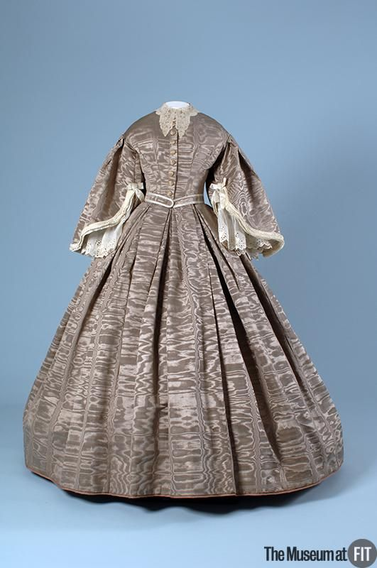 Afternoon dress  Medium: Grey silk moiré  Date: c.1860  Country: England  Credit: Museum Purchase