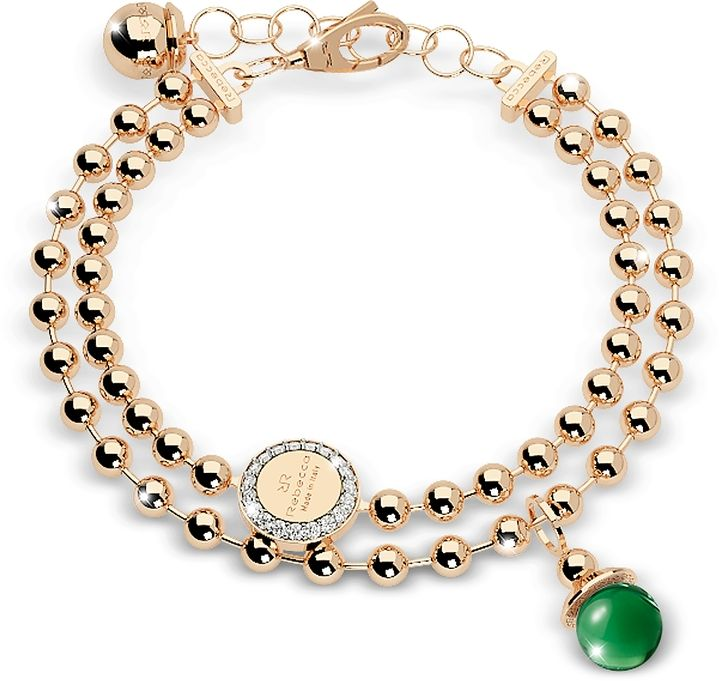 Rebecca Boulevard Stone Yellow Gold Over Bronze Double Beadball Chain Bracelet w/Hydrothermal Green Stone