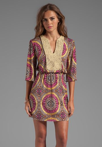 T-BAGS LOSANGELES Mini Caftan Dress in Warm Medallion - Dresses