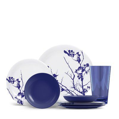 Red Barrel Studio Jon 16 Piece Melamine Dinnerware Set Color Cobalt Blue