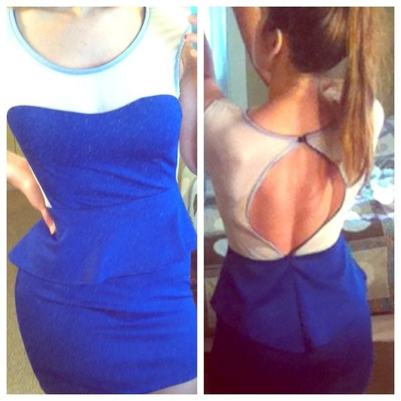 Blue peplum dress with open back and white mesh Great for a night out. Very flattering. Never worn. NWOT Dresses