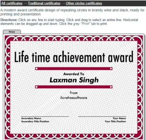 Red Circles Award Certificate