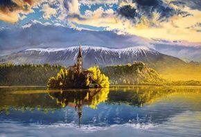 картина, озеро, остров, Словения