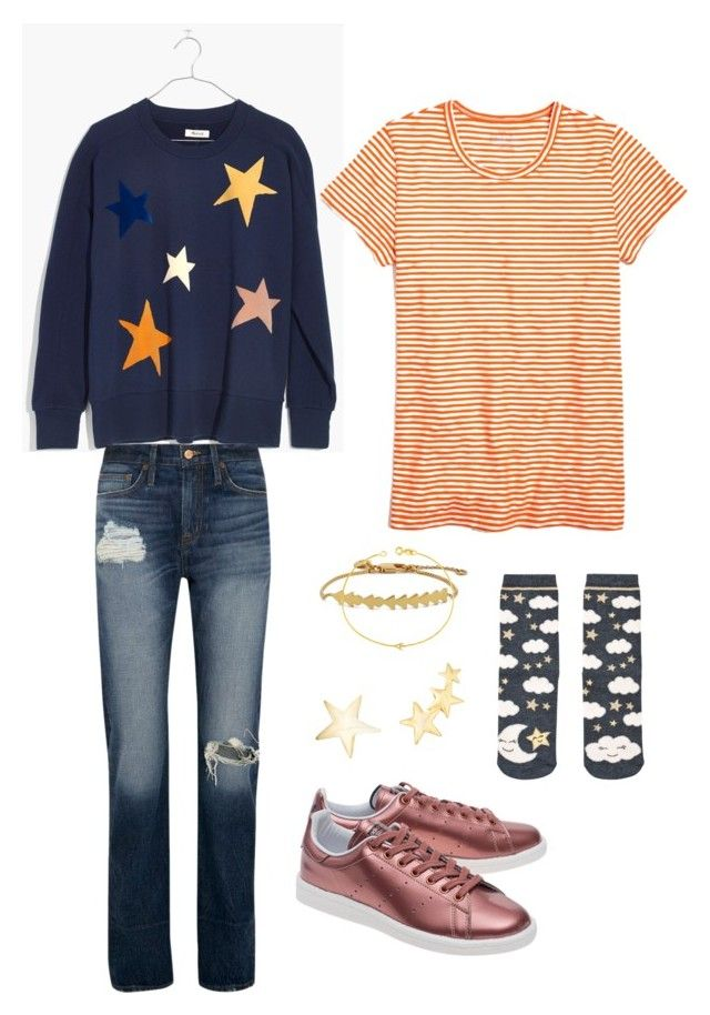 🌟💫🌟 by strawberryplums on Polyvore featuring polyvore, fashion, style, Madewell, J.Crew, Accessorize, adidas Originals, Maya Brenner, Kenneth Jay Lane and clothing