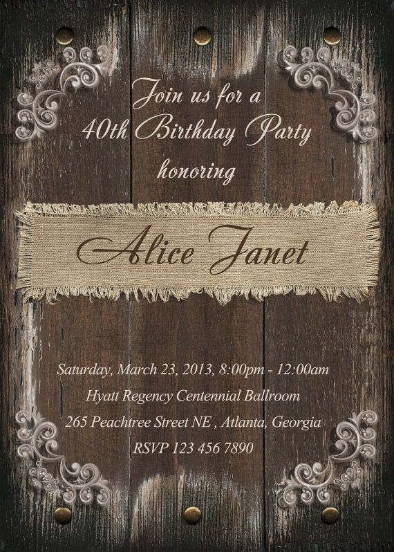 Rustic Birthday Party Invitation 21st 30th 40th 50th by StudioDMD