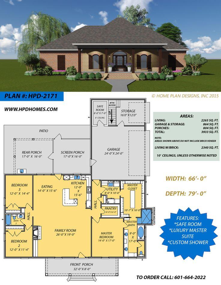 Safe Room Design: New Home Plan Design With Custom Shower, Luxury Master