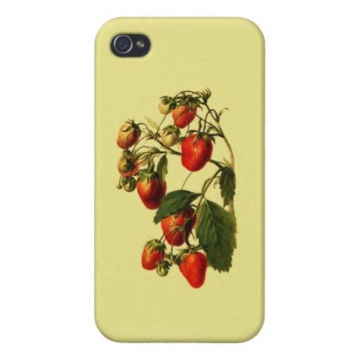 Retro Strawberries iPhone 4 Cases