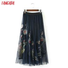 Tangada Fashion Vrouwen Mesh Bloemen Borduren Rokken Elegante Empire Elastische Taille Geplooide Rokken Casual Merk Vrouwelijke Jupe BE07