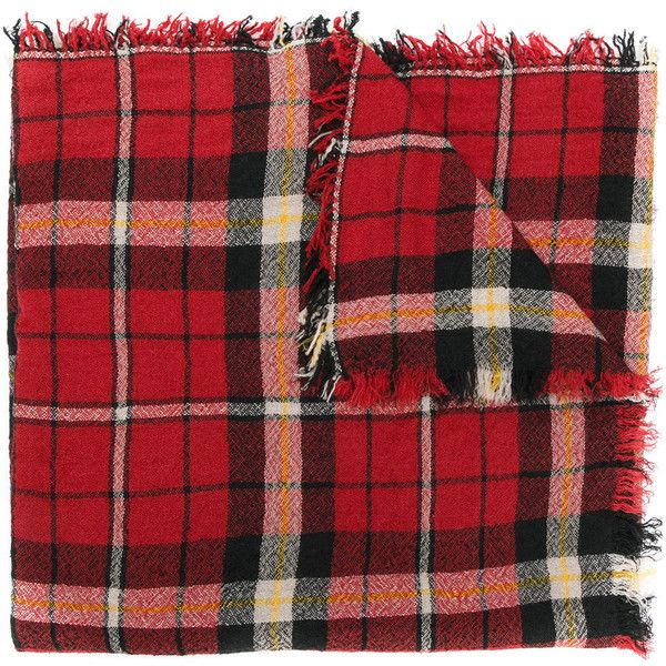 Isabel Marant Loria plaid scarf ($275) ❤ liked on Polyvore featuring accessories, scarves, red, red plaid scarves, plaid shawl, red scarves, tartan plaid scarves and tartan scarves