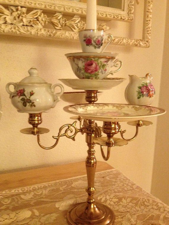 Fantastic teacup candle holder candelabra display by tearsofbliss
