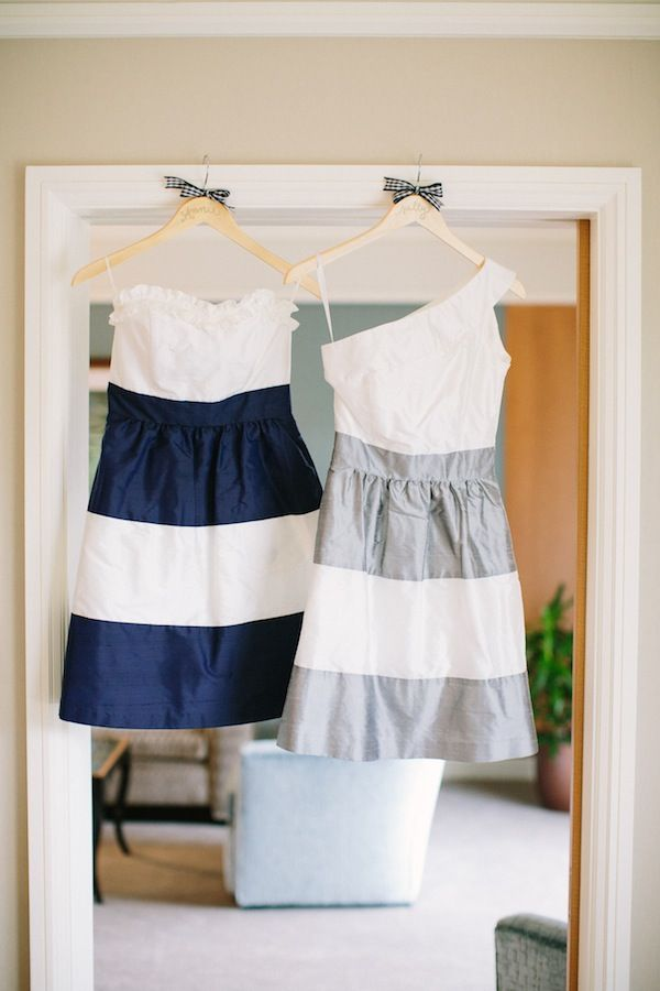 Pretty striped bridesmaid dresses for a summer wedding