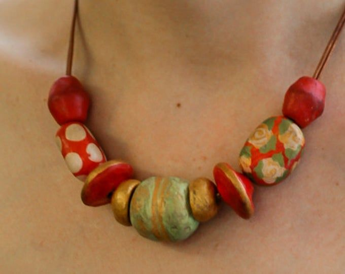 Red Colorful Statement Necklace Beaded Necklace Paper Mache Necklace Red Palette Beaded Necklace Beaded Statement Necklace Jewelry Making Tutorials