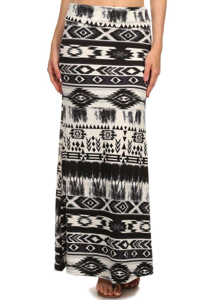 Tribal/Solid Print Maxi Skirt