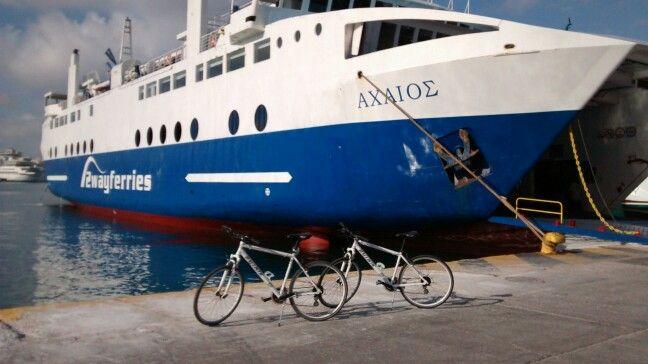 At Piraeus #port , ready ro embark, #Aegina is waiting #greekislands #greece #biketours #bikeholidays #travelncycle