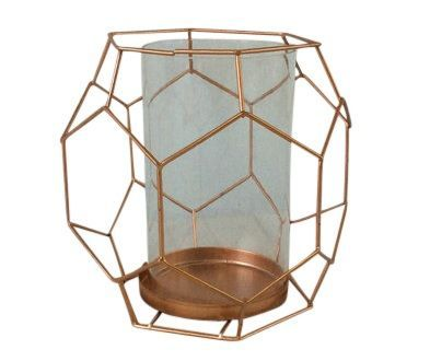 Metal Candle Holder in Copper Gold Geometric
