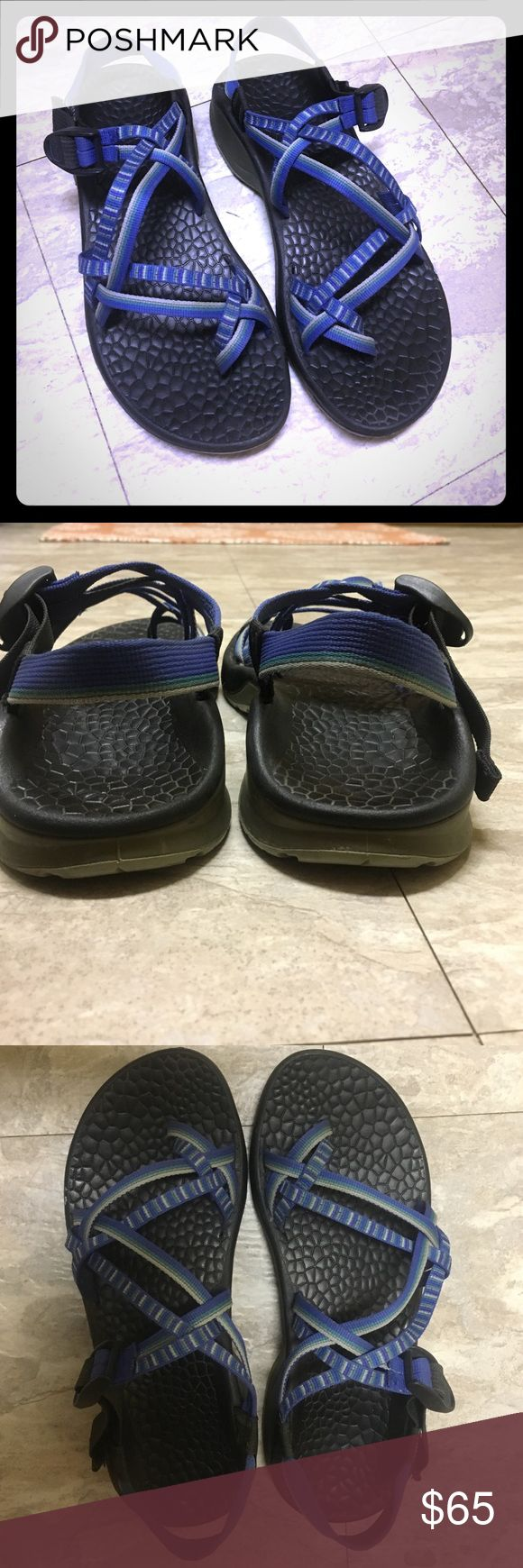 Women's Chaco Sandals Blue, grey, green straps! Very good condition! Lightly used. Size 10 Chacos Shoes Athletic Shoes