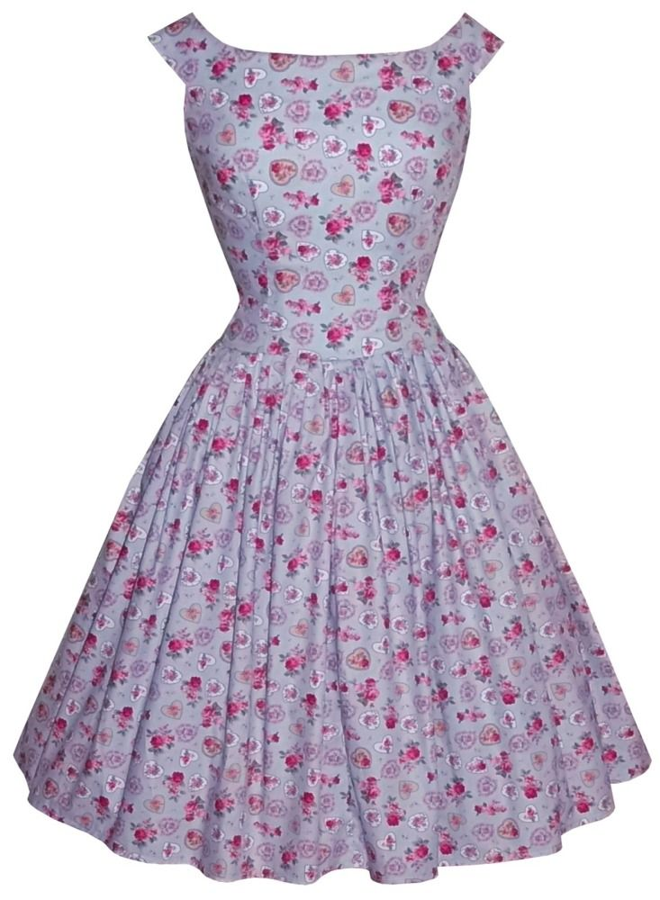 Full gathered 'Abigail' drop waist in floral hearts blue