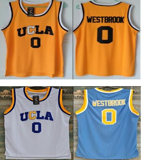 2017 UCLA #0 Russell Westbrook High School Bruins Blue White Yellow Basketball Jerseys 100% Stitched Embroidery Logos Free Ship