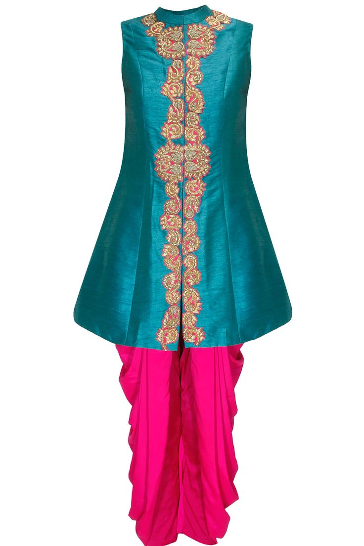 Teal blue zardozi embroidered jacket kurta with pink Dhoti pants available only…
