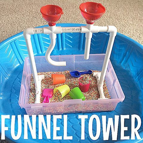 "Funnel Tower This was our project today, and I am so excited about it! I have been wanting to make this for months after seeing @frugalfun4boys version and it did not disappoint! We went to Home Depot to pick up the 3/4"" pvc pipe and joints (total cost was about $12). I put together a sensory bin using an under-the-bed container, rice, a few cups, and some sand toy shovels. We had so much fun dumping the rice through the funnels and pipes and can't wait to do this with beans, sand at the ..."