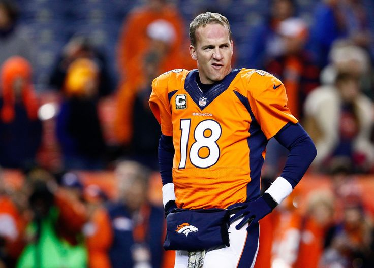 Broncos QB Peyton Manning played Sunday's Divisional Playoff loss and the past month of the season with a torn right quad, per two sources. Description from geeksandcleats.com. I searched for this on bing.com/images