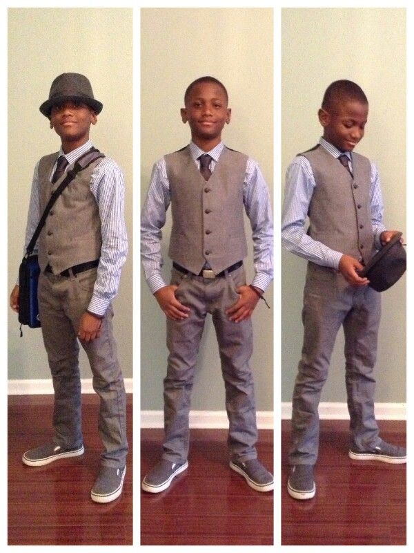 Boys Fashion Fedora Vest Tie Pinstripe Dress Shirt Gray Jeans Vans School Clothes Tween Dressy