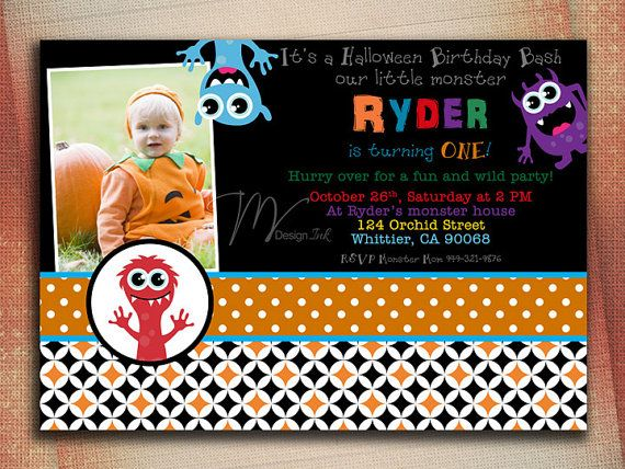 Halloween Monster Birthday Invitation Little by MVDesignInk