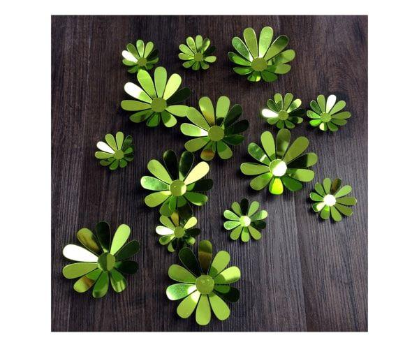 Set di 12 adesivi in vinile verde traslucido flowers chic, max D 10 cm
