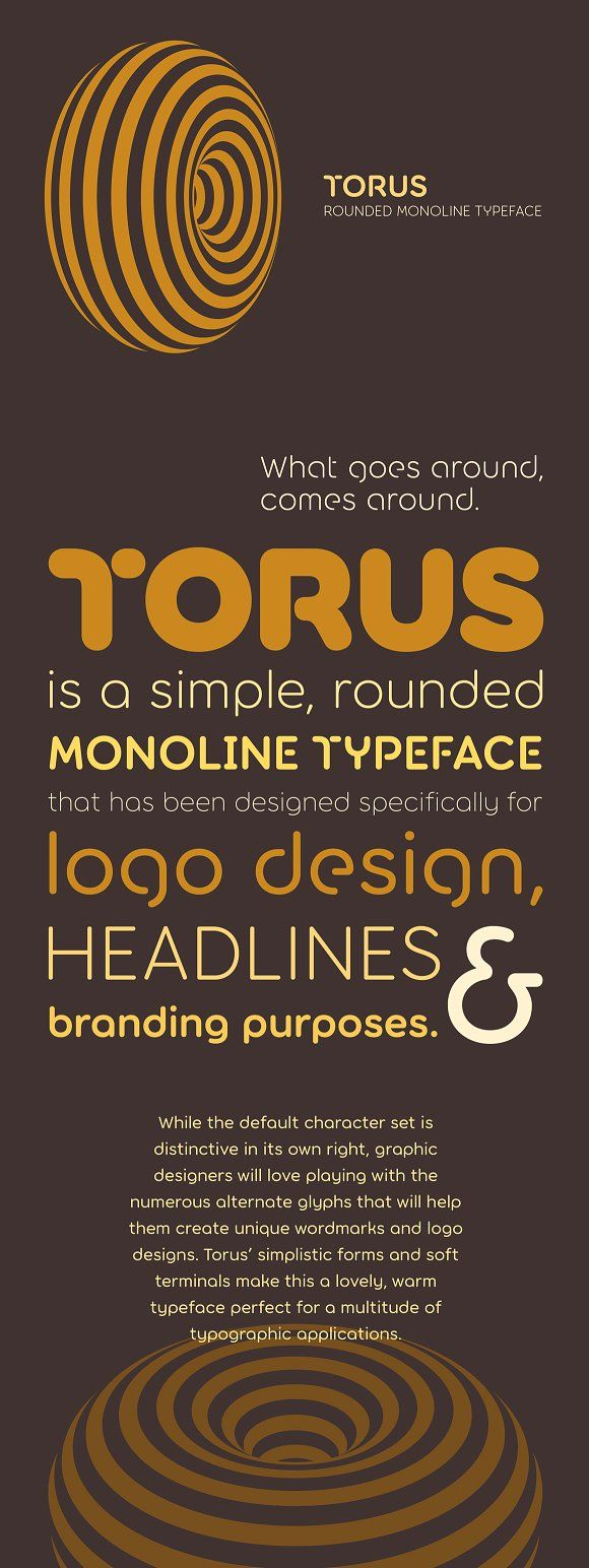 Torus –6 Rounded Monoline Fonts by Paulo Goode on @creativemarket
