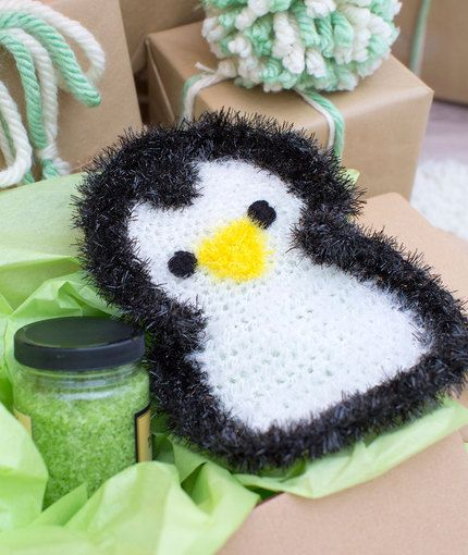 Precious Penguin Scrubby - free crochet pattern by Nancy Anderson for Red Heart.