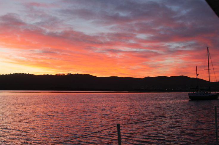 Sunset over the Knysna lagoon