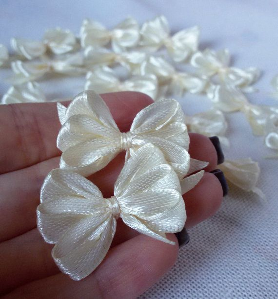 Ivory satin ribbon bows ivory applique bows gift by Rocreanique on Etsy